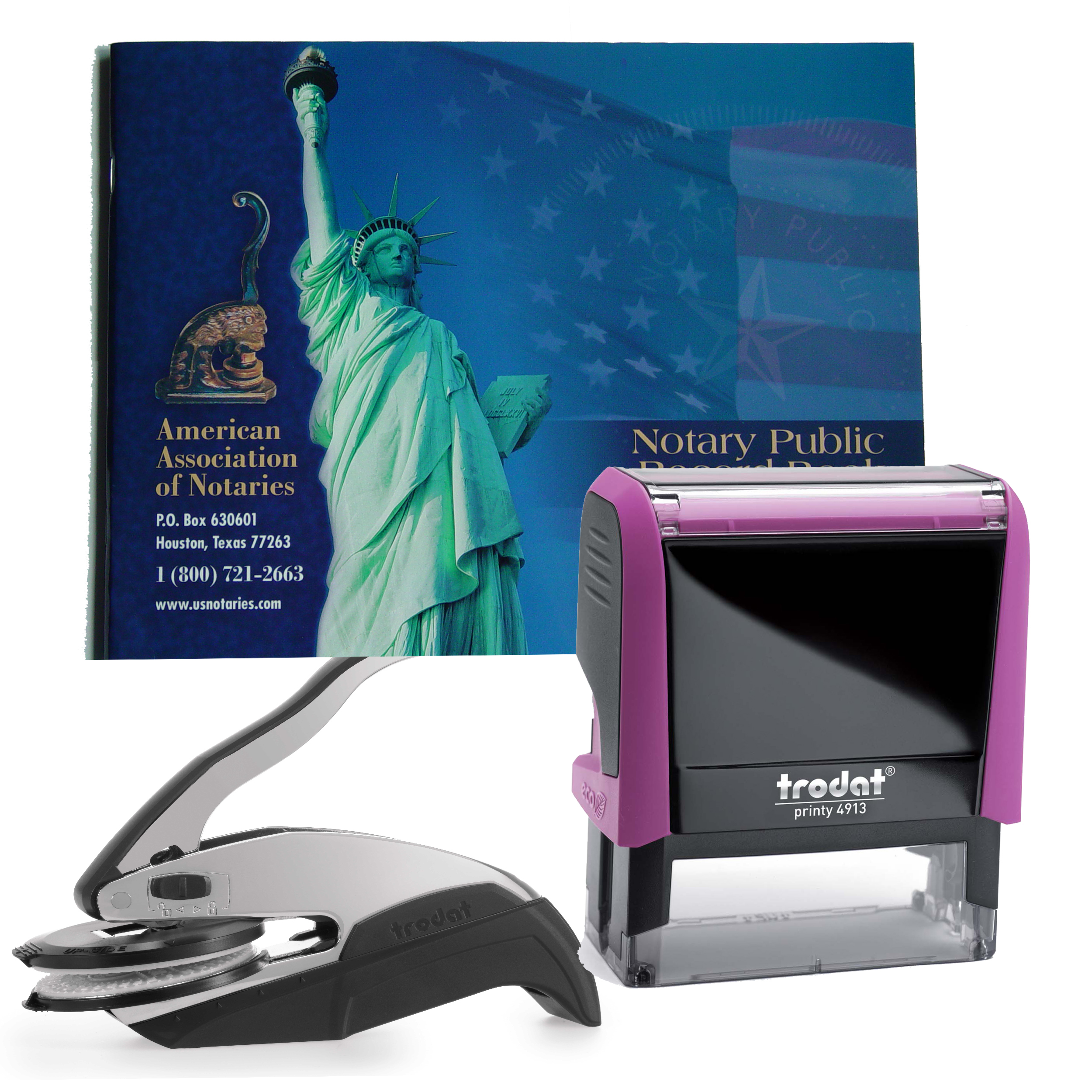 Arkansas Notary Supplies Deluxe Package - Trodat P4 Stamp and Choice of EZ OR Dual-use Embosser