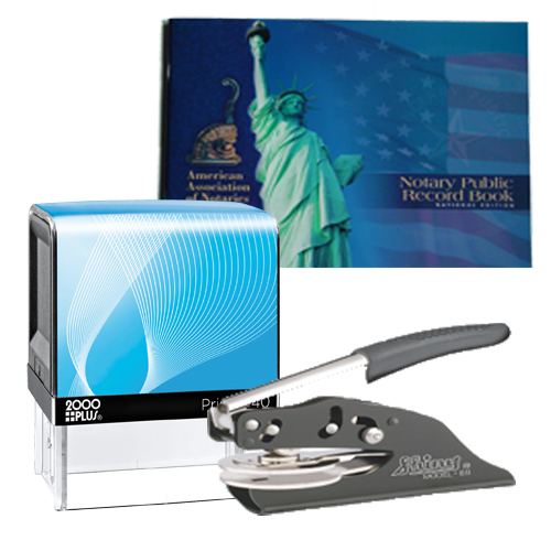 Notary Supplies Deluxe Package - Cosco Stamp and Your Choice of EZ OR Dual-use Embosser